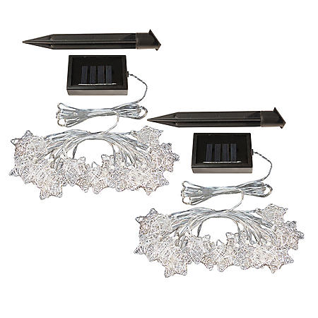 Solar-Powered Silver Star String Lights, Set of 2 (40 lights total)