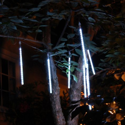 "Meteor Rainfall White LED Lights, 8""-12"" Tubes (144 total lights)"
