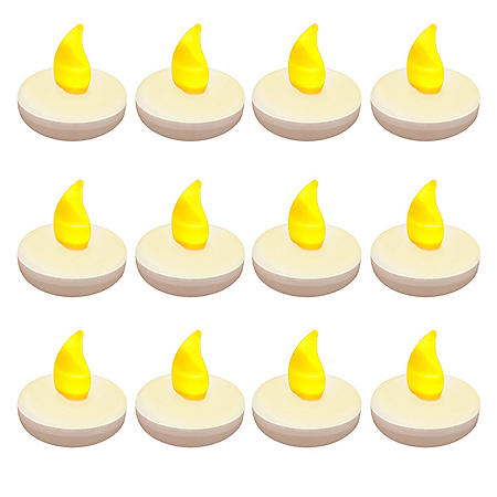 Floating Battery Operated Tea Light Candles - 12 Count  (Choose Your Color)