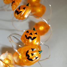 LED Submersible Mini Jack-o'-Lantern String Lights with Timer, Set of 4 (80 total lights)