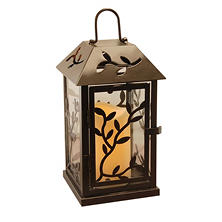 Black Vine Metal Lantern with LED Candle