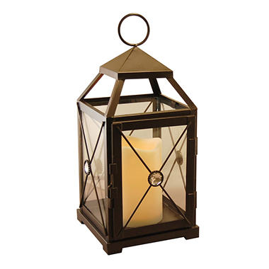 Black Gem Metal Lantern with LED Candle