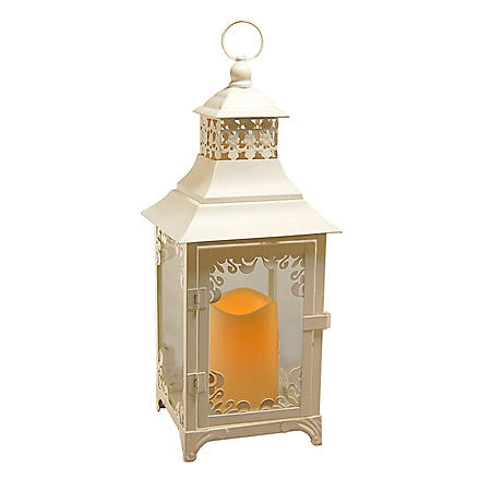 Metal Lantern with LED Candle - Warm White Swirl Detail