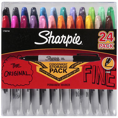 Sharpie - Permanent Marker, Fine, Assorted Colors - 24 Count