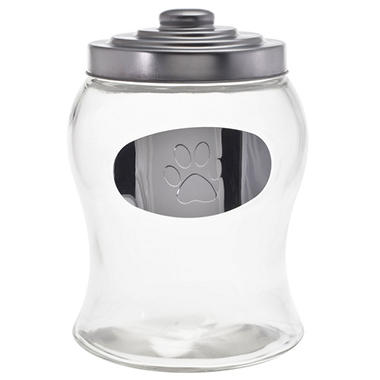 Housewares International Glass Treat Jar with Metal Embossed Paw Medallion and Lid (128 oz.)