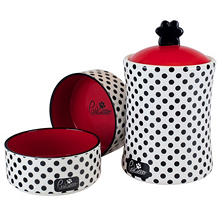 "Housewares International ""Pawcasso"" Ceramic Pet Treat Jar & Bowl Set, Polka Dot"