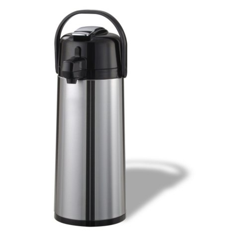 Eco-Air Lever Lid Airpot, Brushed Stainless/Black Accents (2.4L)