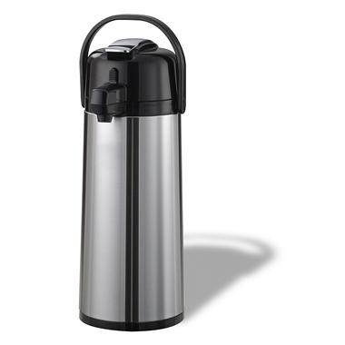 Eco-Air Lever Lid Airpot, Brushed Stainless/Black Accents (1.9L)