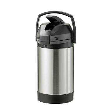 Stainless-Lined Airpot with Lever Lid, Brushed Stainless/Black (2.5L)