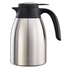 Flow Control Carafe, Brushed Stainless/Black Accents (1.2L)