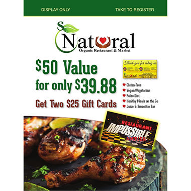 So Natural Organic Restaurant & Market  - 2 x $25
