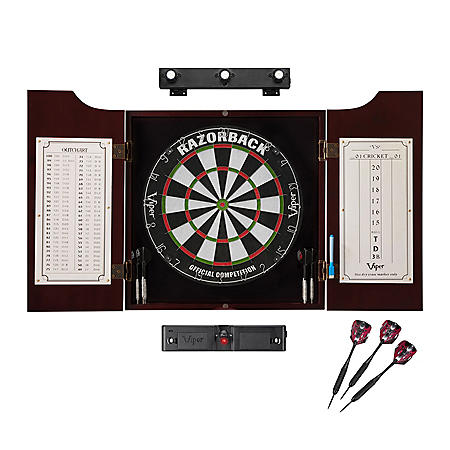 Viper Razorback Sisal Dartboard, Hudson Mahogany Cabinet, Shadow Buster Dartboard Lights & Laser Throw Line