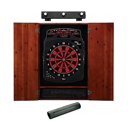 Viper Solar Blast Electronic Dartboard, Metropolitan Cinnamon Cabinet, Dart Mat & Shadow Buster Dartboard Light Bundle