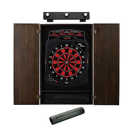 Viper Solar Blast Electronic Dartboard, Metropolitan Espresso Cabinet, Dart Mat & Shadow Buster Dartboard Light Bundle