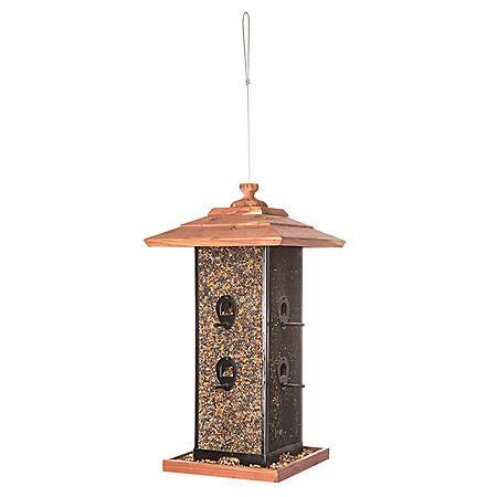 2-Chamber Wire Mesh Cedar Bird Feeder