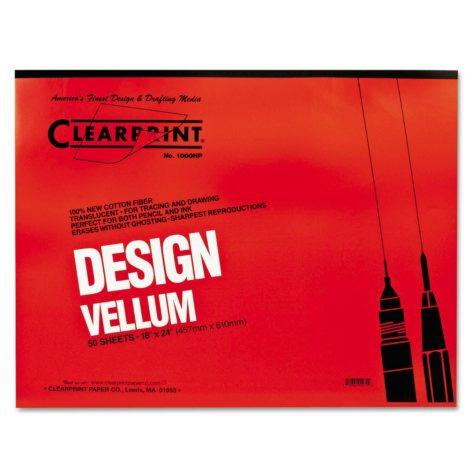 Clearprint Design Vellum Paper, 16lb, White, 18 x 24, 50 Sheets)