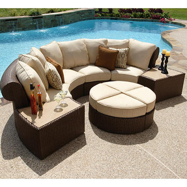 Isola Wicker Outdoor Patio Sectional Furniture Set   7 Pc.