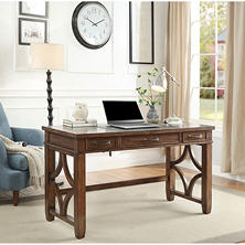 "Morgan Writing Desk with Utility Drawers, 54"" Wide, Walnut Finish"