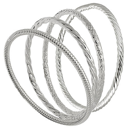 Sterling Silver Bangle Bracelets - Set of 4, Assorted Styles