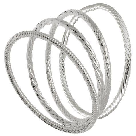 Sterling Silver Bangle Bracelets - Set of 4, Assorted Styles