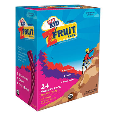 CLIF Kid Twisted Real Fruit Rope, Variety Pack - 0.7 oz. - 24 ct.