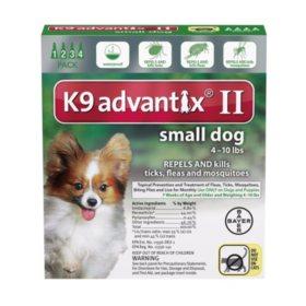 K9 Advantix II Flea & Tick Topical Treatment, 4 ct. (Choose your Size)