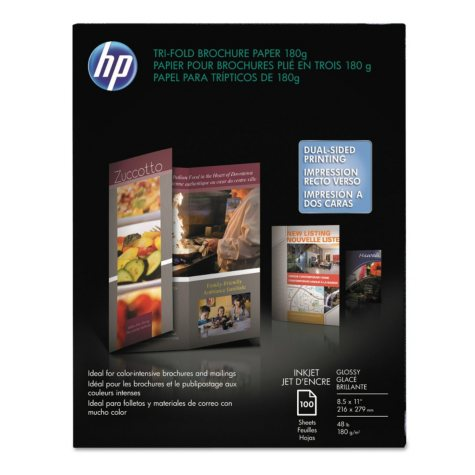 HP Inkjet Tri-Fold Brochure Paper, 48lb, 98 Bright, 8 1/2 x 11, White, 100 Sheets