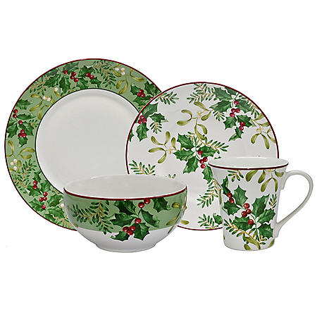 222 Fifth Christmas Foliage Green 16-Piece Dinnerware Set