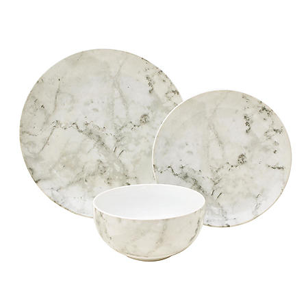 12-Piece Marble Porcelain Dinnerware Set