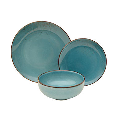 12-Piece Aqua Porcelain Dinnerware Set