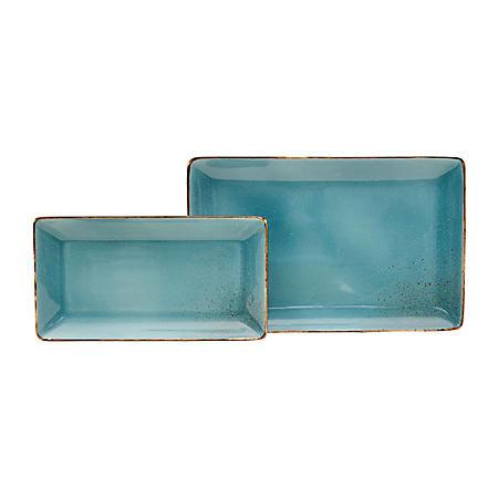 2-Piece Aqua Porcelain Serving Trays