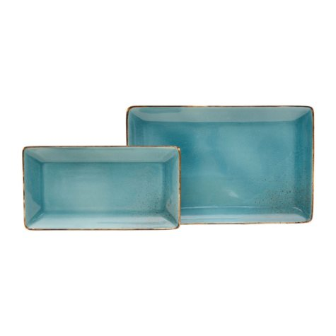 2-Piece Aqua Porcelain Serving Trays