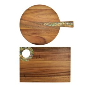 2-Piece Acacia Cutting Boards Set with Capiz Accents