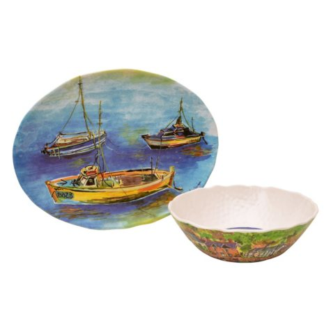 Sage Boat Melamine Serving Bowl and Platter Set