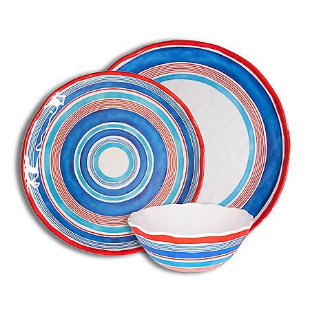 222 Fifth Ocean Stripes Mixed 12-Piece Melamine Dinnerware Set
