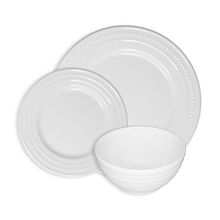 222 Fifth Beaded White 12-Piece Melamine Dinnerware Set