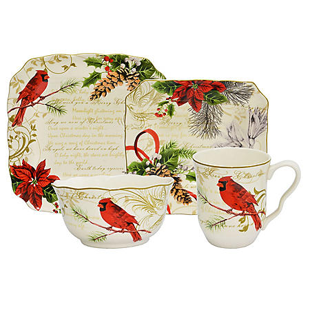 222 Fifth Holiday Wishes Red 16-Piece Dinnerware Set