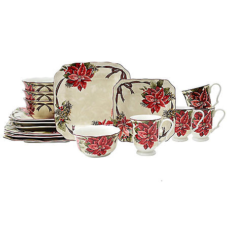 222 Fifth Yuletide Celebration Red 16-Piece Dinnerware Set Square