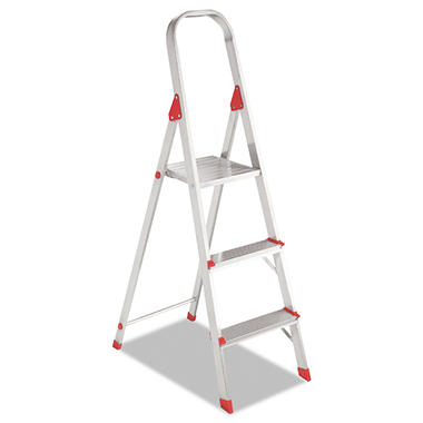 Louisville 3-Step Folding Aluminum Euro Platform Ladder - Red