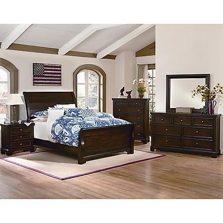 Brooklyn Sleigh Bedroom 5-Piece Set, Queen