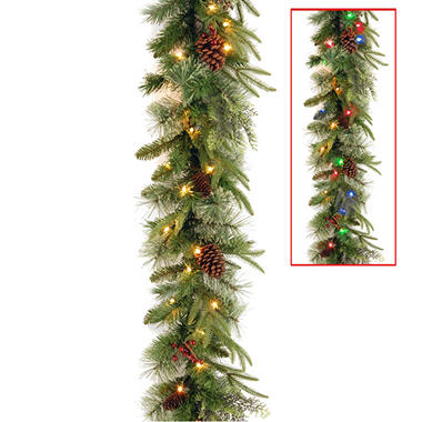 national tree company 9 battery operated pre lit colonial garland - Battery Operated Christmas Trees