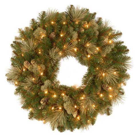 "National Tree Company 24"" Battery-Operated Pre-Lit Carolina Pine Wreath"