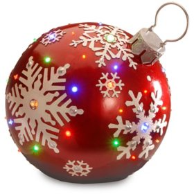national tree co 18 pre lit ball ornament with snowflake outdoor decoration - Sams Club Outdoor Christmas Decorations