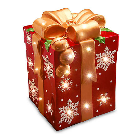 """National Tree Co. 21"""" Pre-Lit Gift Box Outdoor Decoration"""