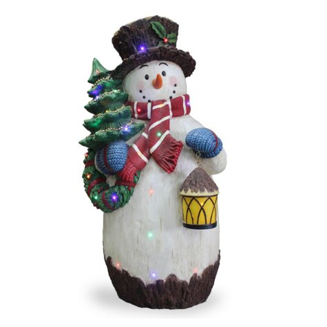 """National Tree Co. Pre-Lit 36"""" Snowman with Tree Outdoor Decoration"""