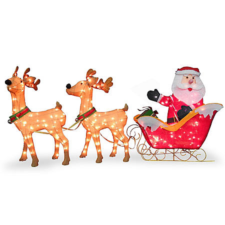 "National Tree Co. 34"" Pre-Lit Santa with Reindeer"