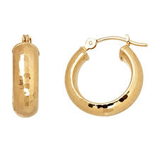 Diamond Cut Hammered Hoop Earrings (IGI Appraisal Value: $150)