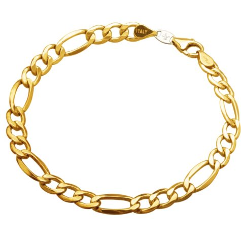 """9"""" Men's Figaro Bracelet in Sterling Silver and 14K Yellow Gold"""