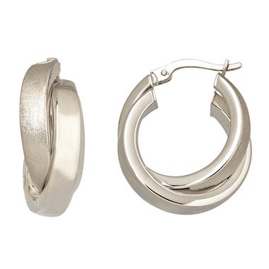5mm Crossover Hoop Earring in Polished 14K White Gold