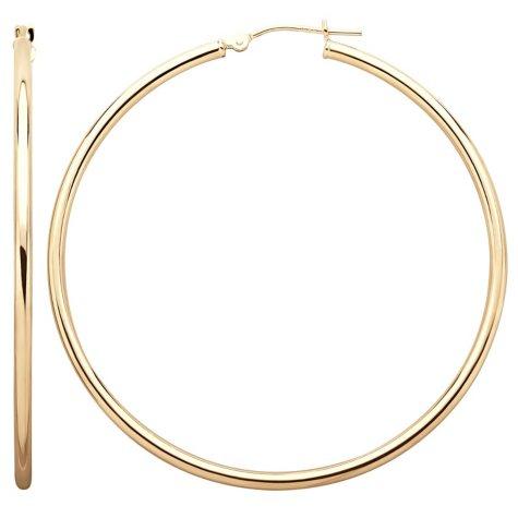 2x50mm Round Hoop Earring in 14K Gold